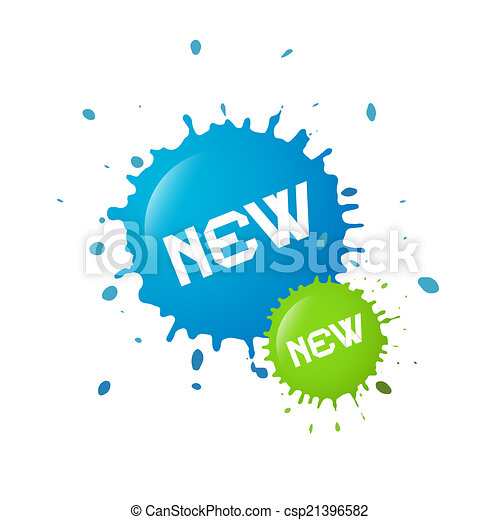 Blue and Green Vector New Splashes, Blots - csp21396582