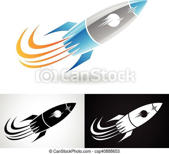 Blue and Grey Rocket Icon - csp40888653