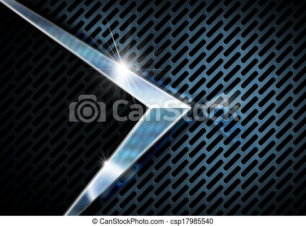 Blue and Metal Background with Grid - csp17985540