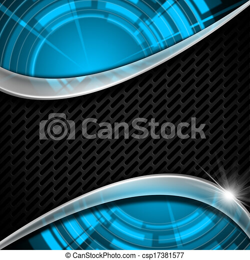 Blue and Metal Background with Grid - csp17381577