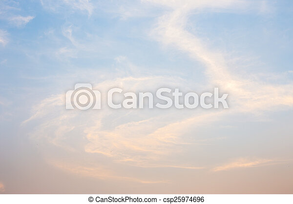 Blue and orange sky with clouds background - csp25974696