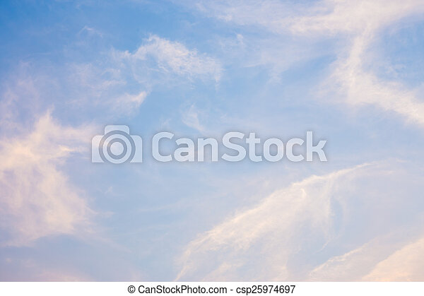Blue and orange sky with clouds background - csp25974697