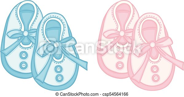 Blue And Pink Baby Shoes Scalable Vectorial Representing A Blue