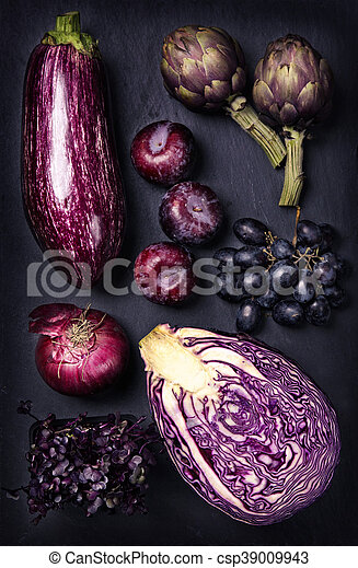 Blue and purple fruits and vegetables - csp39009943