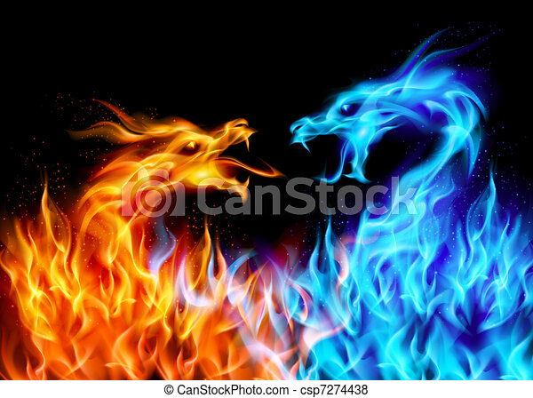 Blue and red fire Dragons - csp7274438