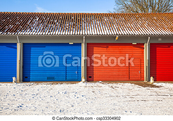 Blue And Red Garage Doors In Snow Red And Blue Fire Brigade Garage