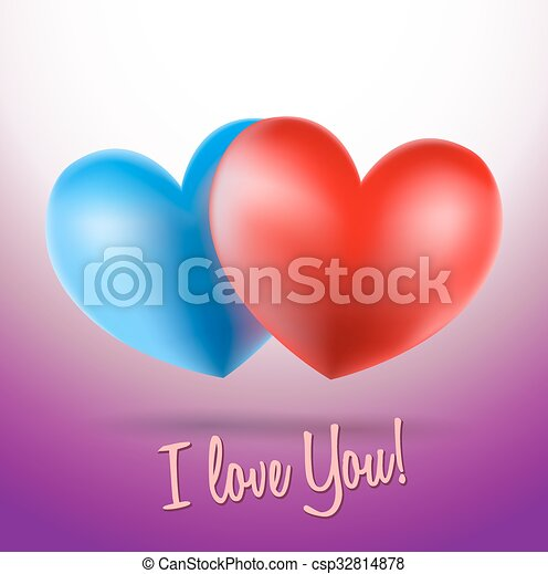 Blue And Red Heart Symbols On Violet Background And I Love You Words
