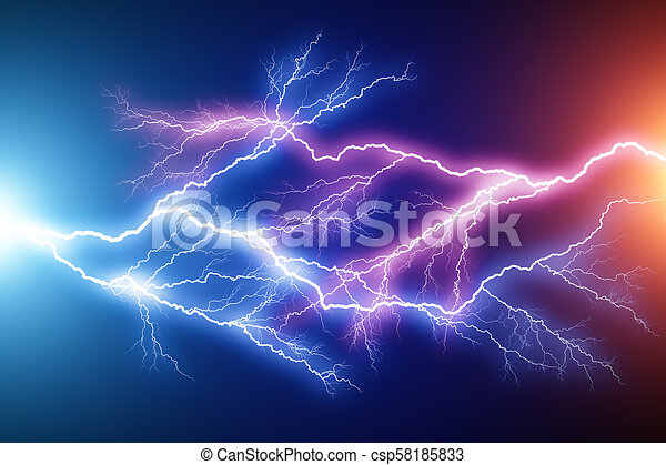 Blue And Red Lightning Arc Electric Discharge Creative Abstract 3d Render Illustration Of The Blue And Red Lightning Arc Hit