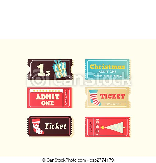 Blue and red retro cinema christmas tickets - csp2774179