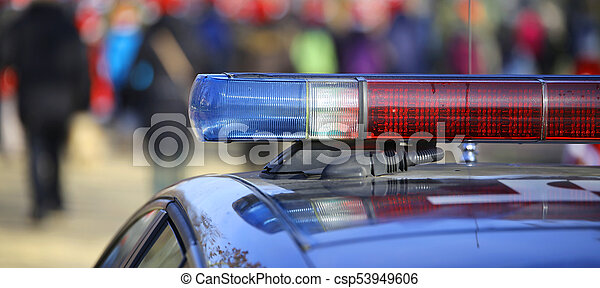 blue and red sirens of the police car - csp53949606
