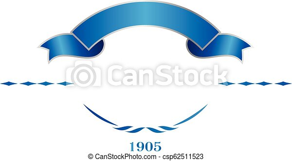 Blue and silver elegant ribbon banner  Vector logo template