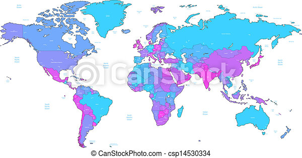 Blue and violet detailed world map detailed vector world map of blue and violet detailed world map csp14530334 gumiabroncs Image collections