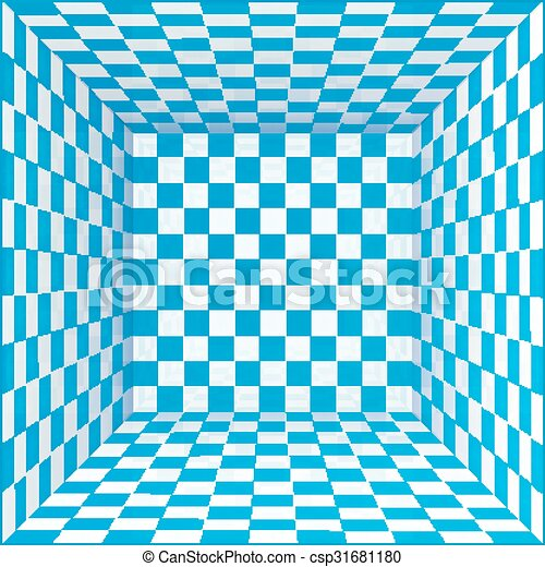 Blue and white chessboard walls room background - csp31681180