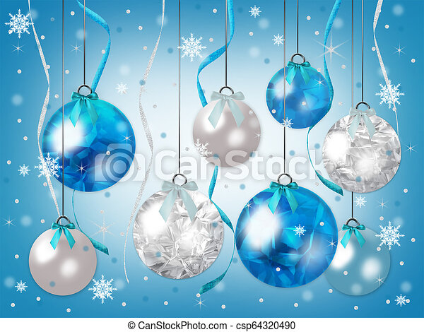 White Christmas Background.Blue And White Christmas Ornaments Hanging In Shades Of Blue With Snow Falling Graphic Illustration Background