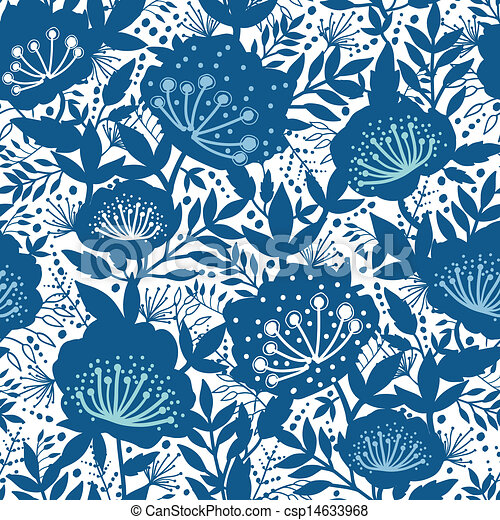 Blue And White Garden Plants Silhouettes Seamless Pattern Background