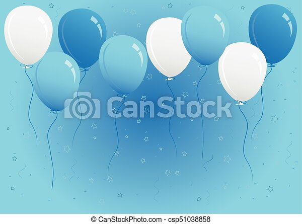 blue and white party balloons vector illustration editable eps