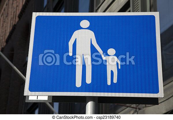 Blue and White Pedestrian Street Sign - csp23189740
