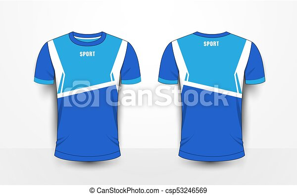 T Shirt Design Line Art : Blue and white sport football kits jersey t shirt design clip
