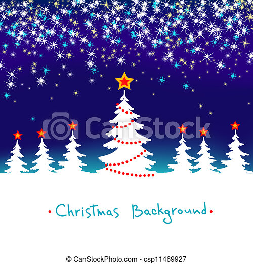 Blue and White Vector Abstract Winter Forest Background with Stars Christmas Seasonal Tree - csp11469927