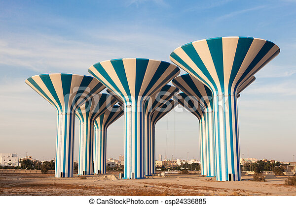 Blue and white water towers in Kuwait, Middle East - csp24336885