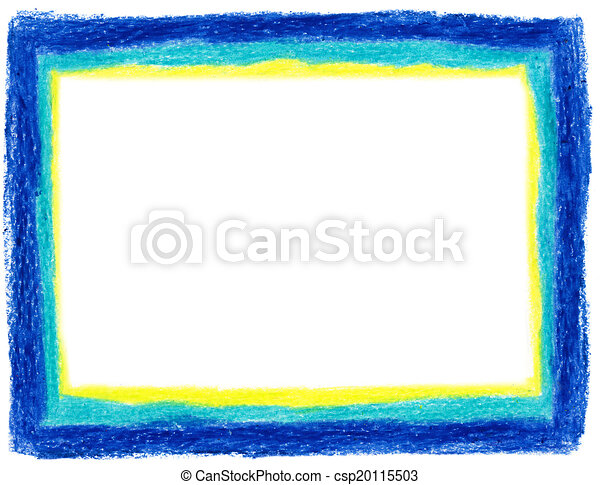 Blue And Yellow Crayon Frame Stock Illustration