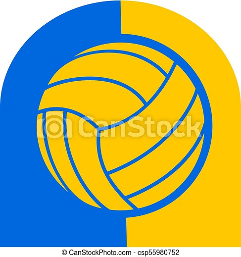 Creative Design Of Blue And Yellow Volleyball Symbol Clipart Vector