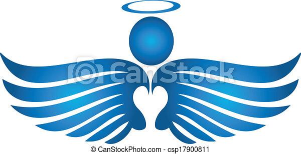 Blue angel praying logo - csp17900811