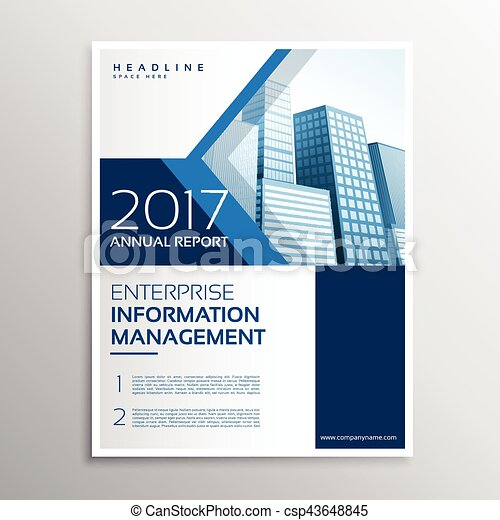 Blue Annual Report Brochure Flyer Template Design With Arrow  Eps