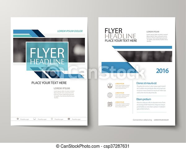 Blue Annual Report Brochure Flyer Flat Design Template - Annual report design templates 2016