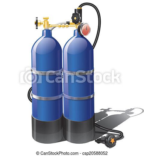 Blue aqualung for scuba diving - csp20588052