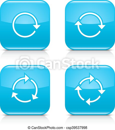 Blue arrow refresh, reload, rotation, repeat icon - csp39537998