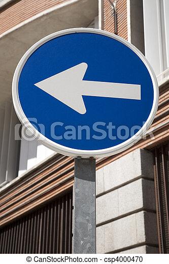 Blue Arrow Sign in Urban Setting - csp4000470
