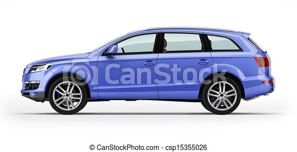 Blue automobile, luxury SUV. Isolated on white. - csp15355026