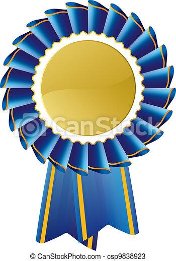 Blue award seal rosette - csp9838923