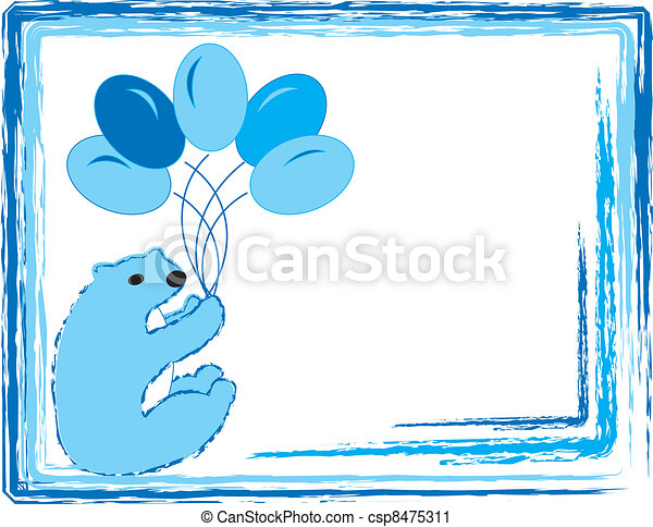 Blue Baby Bear With Balloons