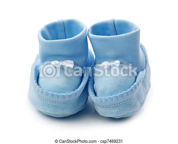 22a05dcec9ed Blue baby booties on white background.