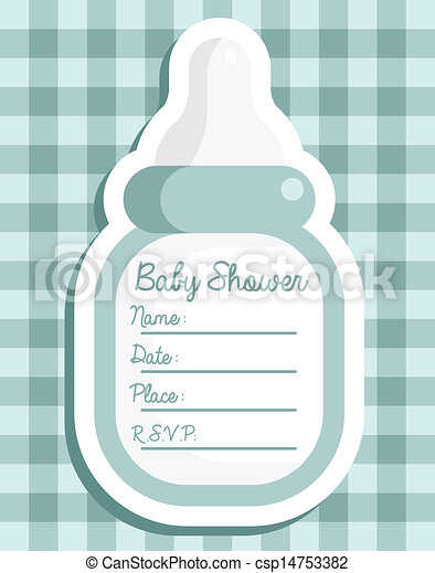 Blue Baby Bottle Invitation - csp14753382