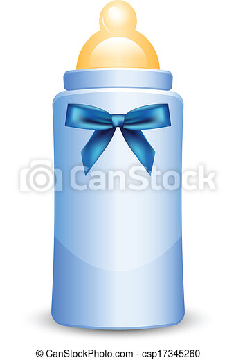 Vector Illustration Of Blue Baby Bottle With Bow