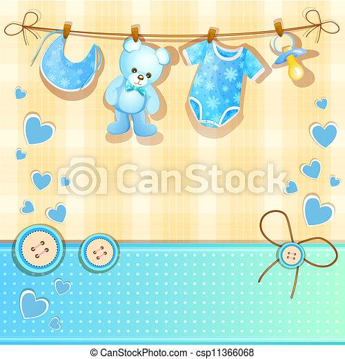 ... Blue Baby Shower Card With Cute Teddy Bear
