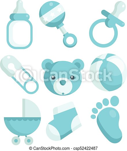 Blue Baby Shower Icons Set Of Blue Baby Shower Icons