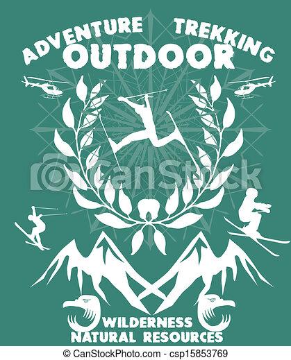 blue background skier vector art - csp15853769
