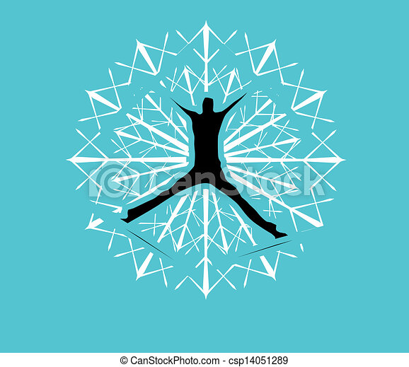 blue background skier vector art - csp14051289
