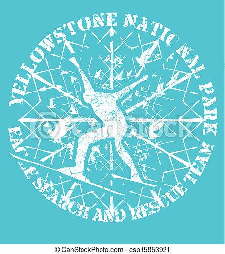 blue background skier vector art - csp15853921