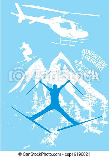 blue background skier vector art - csp16196021
