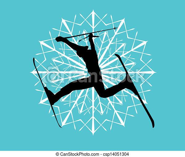 blue background skier vector art - csp14051304