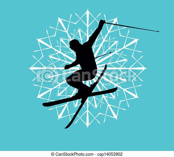 blue background skier vector art - csp14053902