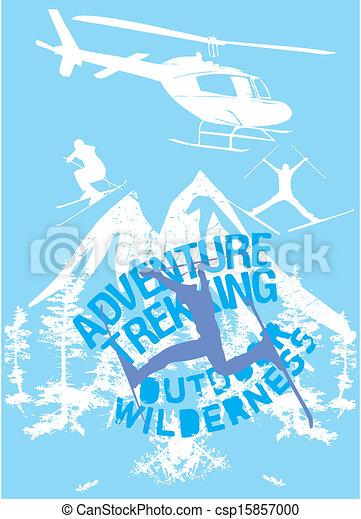 blue background skier vector art - csp15857000
