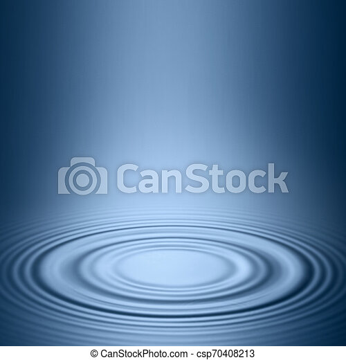 Blue background smooth circles on the water. - csp70408213