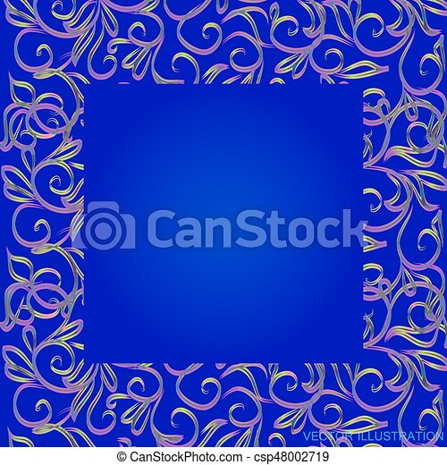 Blue Background With Border And Gold Floral Ornament Vector Illustration