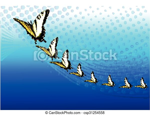 Blue background with butterflies  - csp31254558